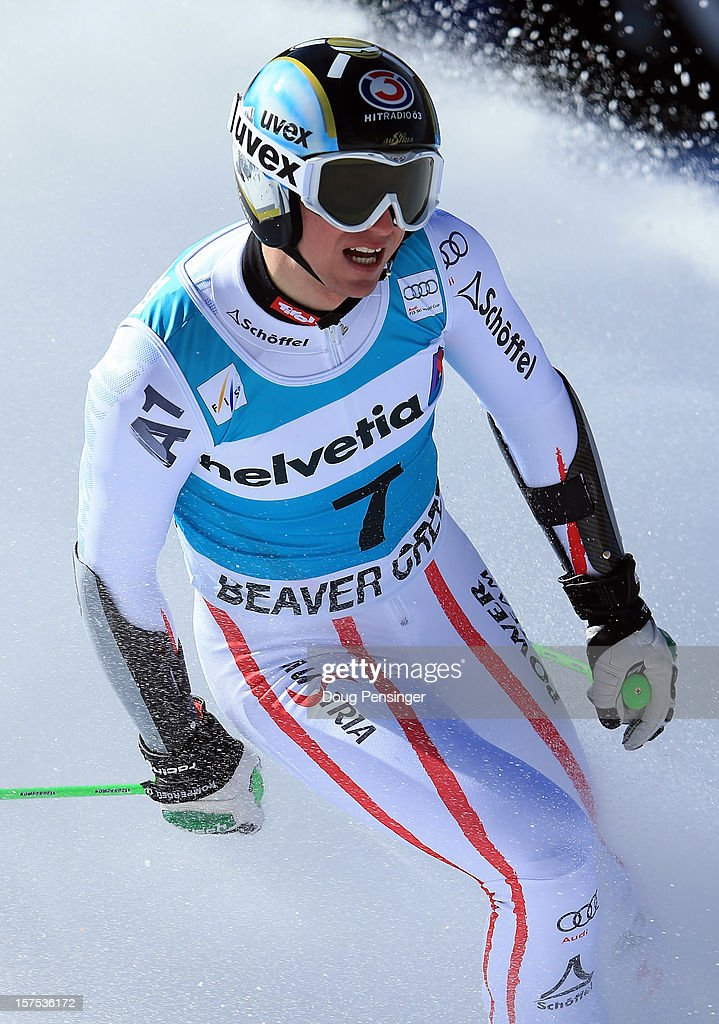 Hannes Reichelt of Austria looks on after finishing 12th in the men's Giant Slalom at the Audi FIS World Cup on December 2, 2012 in Beaver Creek, Colorado.