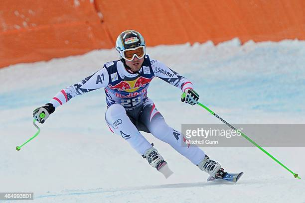 Hannes Reichelt of Austria races down the Hahnenkamm Course during the Audi FIS Alpine Ski World Cup Downhill race on January 25 2013 in Kitzbuhel...