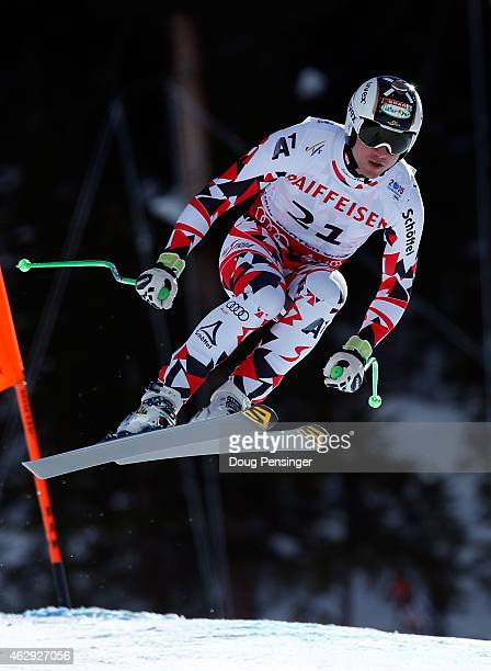Hannes Reichelt of Austria races during the Men's Downhill on the Birds of Prey racecourse on Day 6 of the 2015 FIS Alpine World Ski Championships on...