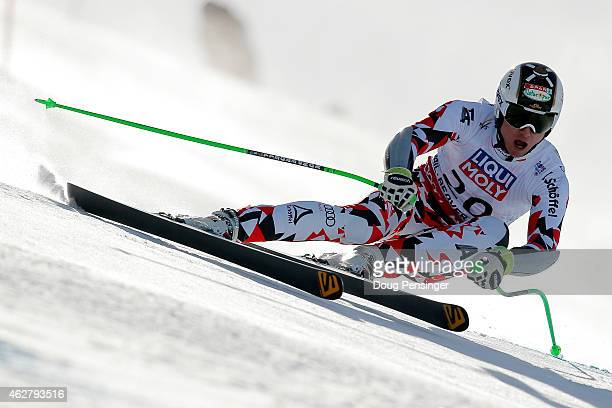 Hannes Reichelt of Austria races during the Men's SuperG on the Birds of Prey racecourse on Day 4 of the 2015 FIS Alpine World Ski Championships on...