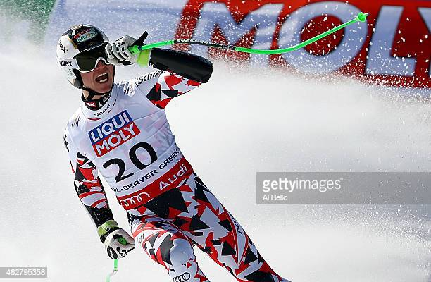 Hannes Reichelt of Austria reacts after crossing the finish of the Men's SuperG in Red Tail Stadium on Day 4 of the 2015 FIS Alpine World Ski...