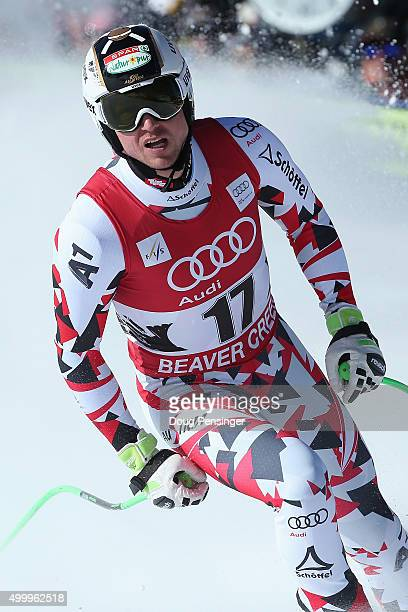Hannes Reichelt of Austria reacts as he finishes fourth in the men's downhill at the 2015 Audi FIS Ski World Cup on the Birds of Prey on December 4...