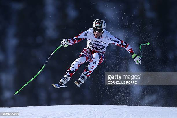 Hannes Reichelt of Austria speeds down to win the men's Alpine Skiing World Cup downhill race in Kvitfjell on March 7 2015 AFP PHOTO / SCANPIX NORWAY...