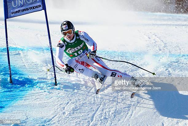 Hannes Reichelt of Austria takes 1st place during the Audi FIS Alpine Ski World Cup Men's SuperG on February 5 2011 in Hinterstoder Austria