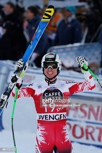 Hannes Reichelt of Austria takes 1st place during the Audi FIS Alpine Ski World Cup Men's Downhill on January 18 2015 in Wengen Switzerland