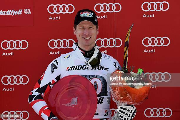Hannes Reichelt of Austria takes 1st place during the Audi FIS Alpine Ski World Cup Men's Downhill on March 07 2015 in Kvitfjell Norway