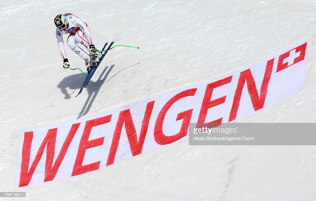 Hannes Reichelt of Austria takes 3rd place during the Audi FIS Alpine Ski World Cup Men's Downhill on January 19 2013 in Wengen Switzerland