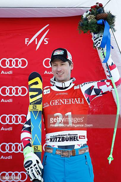 Hannes Reichelt of Austria takes 3rd place during the Audi FIS Alpine Ski World Cup Men's SuperG on January 22 2016 in Kitzbuehel Austria