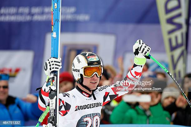 Hannes Reichelt of Austria takes the 1st place during the Audi FIS Alpine Ski World Cup Men's Downhill on February 28 2015 in GarmischPartenkirchen...