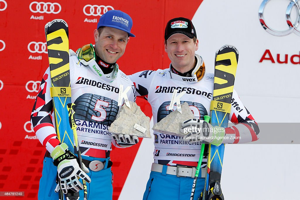 Hannes Reichelt of Austria takes the 1st placeRomed Baumann of Austria take the 2nd place during the Audi FIS Alpine Ski World Cup Men's Downhill on...