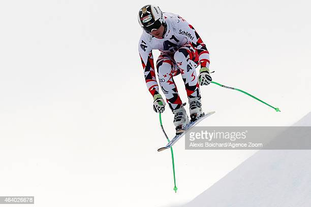 Hannes Reichelt of Austria takes the 3rd place during the Audi FIS Alpine Ski World Cup Men's Downhill on February 21 2015 in Saalbach Austria