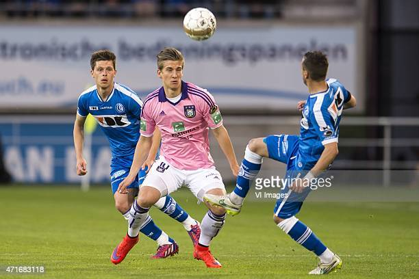 Hannes van der Bruggen of KAA Gent Dennis Praet of RSC Anderlecht Danijel Milicevic of KAA Gent during the Jupiler Pro League match between KAA Gent...