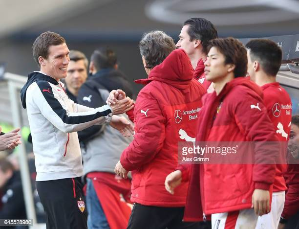 Hannes Wolf head coach of Stuttgart celebrates at the end of the Second Bundesliga match between VfB Stuttgart and 1 FC Kaiserslautern at...