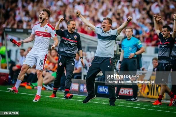 Hannes Wolf head coach of Stuttgart celebrates during the Second Bundesliga match between VfB Stuttgart and FC Wuerzburger Kickers at MercedesBenz...