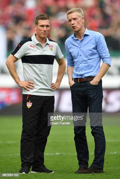 Hannes Wolf head coach of Stuttgart looks on after the Second Bundesliga match between Hannover 96 and VfB Stuttgart at HDIArena on May 14 2017 in...