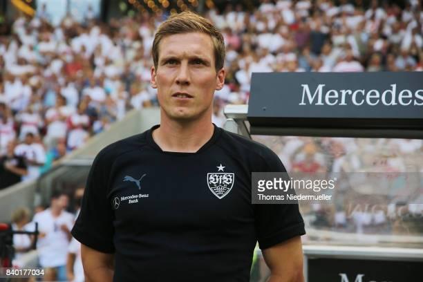 Hannes Wolf head coach of Stuttgart looks on prior to the Bundesliga match between VfB Stuttgart and 1 FSV Mainz 05 at MercedesBenz Arena on August...