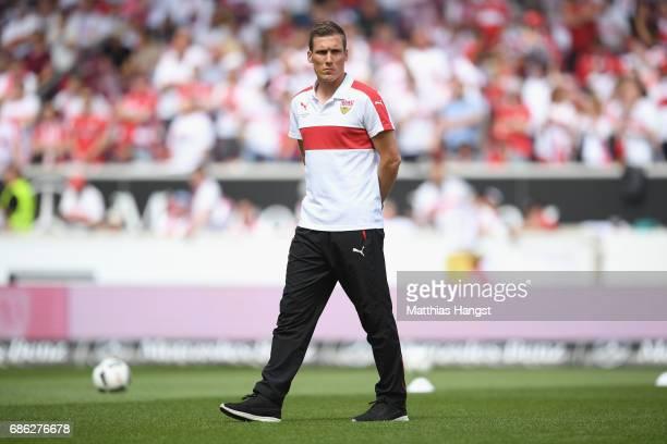 Hannes Wolf head coach of Stuttgart looks on prior to the Second Bundesliga match between VfB Stuttgart and FC Wuerzburger Kickers at MercedesBenz...
