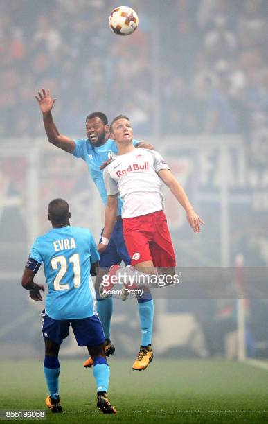 Hannes Wolf of Red Bull Salzburg flies high during the UEFA Europa League group I match between RB Salzburg and Olympique Marseille at Red Bull Arena...
