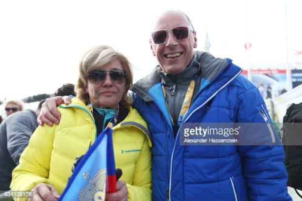 Hanni Wenzel and Harti Weirather parents of Tina Weirather of Liechtenstein pose during the Women's Super G during the FIS Alpine World Ski...