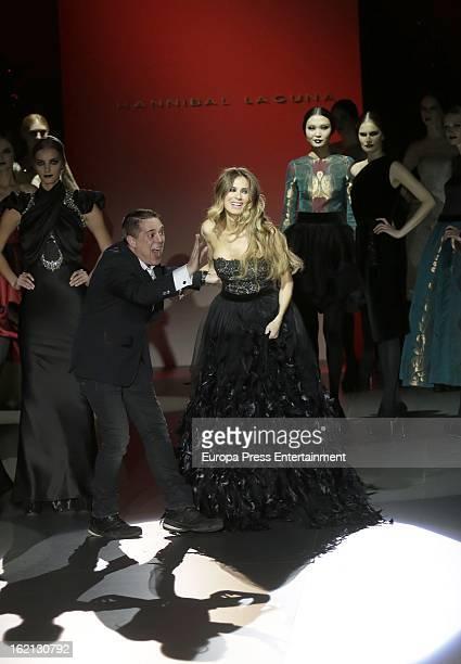 Hannibal Laguna and model Vanessa Romero during Hannibal Laguna show during Mercedes Benz Fashion Week Madrid Fall/Winter 2013/14 at Ifema on...
