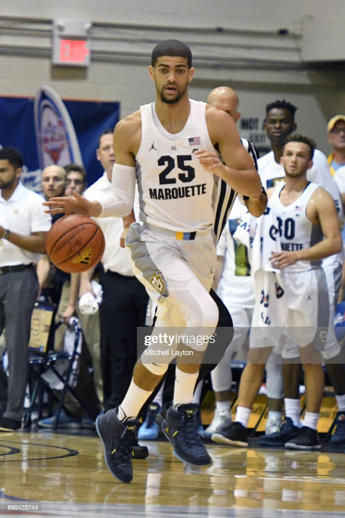 Hannif Cheatham #25 of the Marquette Golden Eagles dribbles up court during a consultation college basketball game at the Maui Invitational against the LSU Tigers at the Lahaina Civic Center on November 22, 2017 in Lahaina, Hawaii. The Golden Eagles won 94-84.