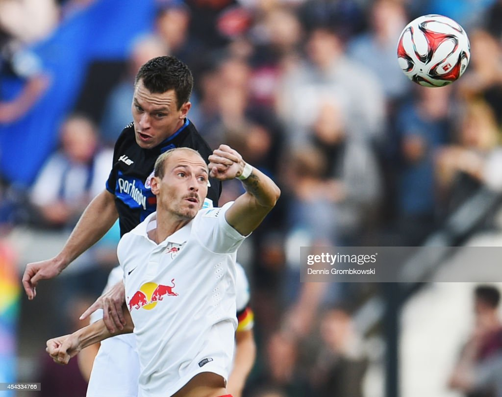 <a gi-track='captionPersonalityLinkClicked' href=/galleries/search?phrase=Hanno+Balitsch&family=editorial&specificpeople=635099 ng-click='$event.stopPropagation()'>Hanno Balitsch</a> of FSV Frankfurt challenges Matthias Morys of RB Leipzig during the Second Bundesliga match between FSV Frankfurt and RB Leipzig at Volksbank Stadion on August 29, 2014 in Frankfurt am Main, Germany.