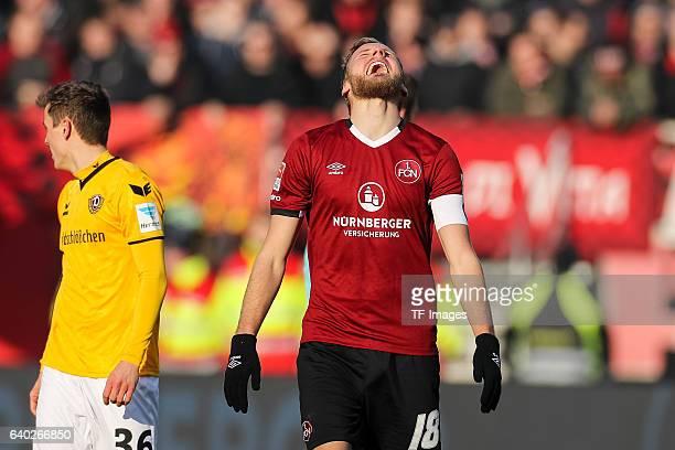 Hanno Behrens of FC Nuernberg gestures during the Second Bundesliga match between 1 FC Nuernberg and SG Dynamo Dresden at Arena Nuernberg on January...