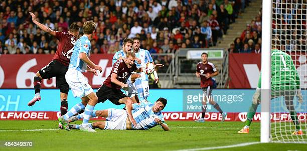Hanno Behrens of Nuernberg tries to score his teams first goal during the second Bundesliga match between 1 FC Nuernberg and TSV 1860 Muenchen at...