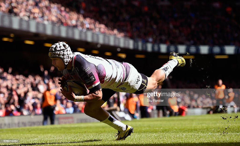 Hanno Dirksen of the Ospreys scores his second try during the Guinness Pro 12 match between Cardiff Blues and Ospreys at Principality Stadium on April 30, 2016 in Cardiff, United Kingdom.