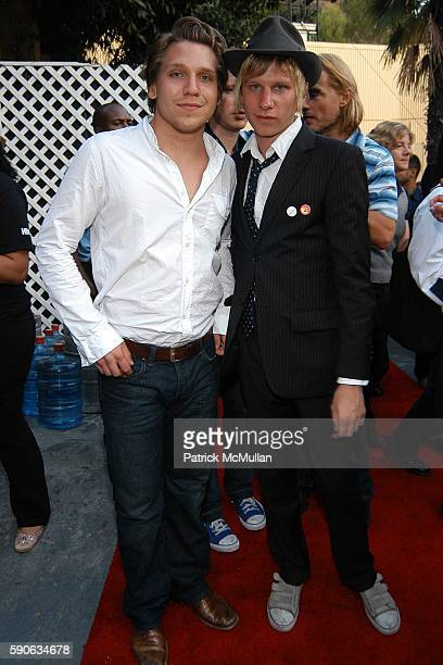 Hanno Koffler and Robert Stadlober attend OUTFEST 2005 Awards at Ford Amphitheatre on July 17 2005 in Hollywood CA
