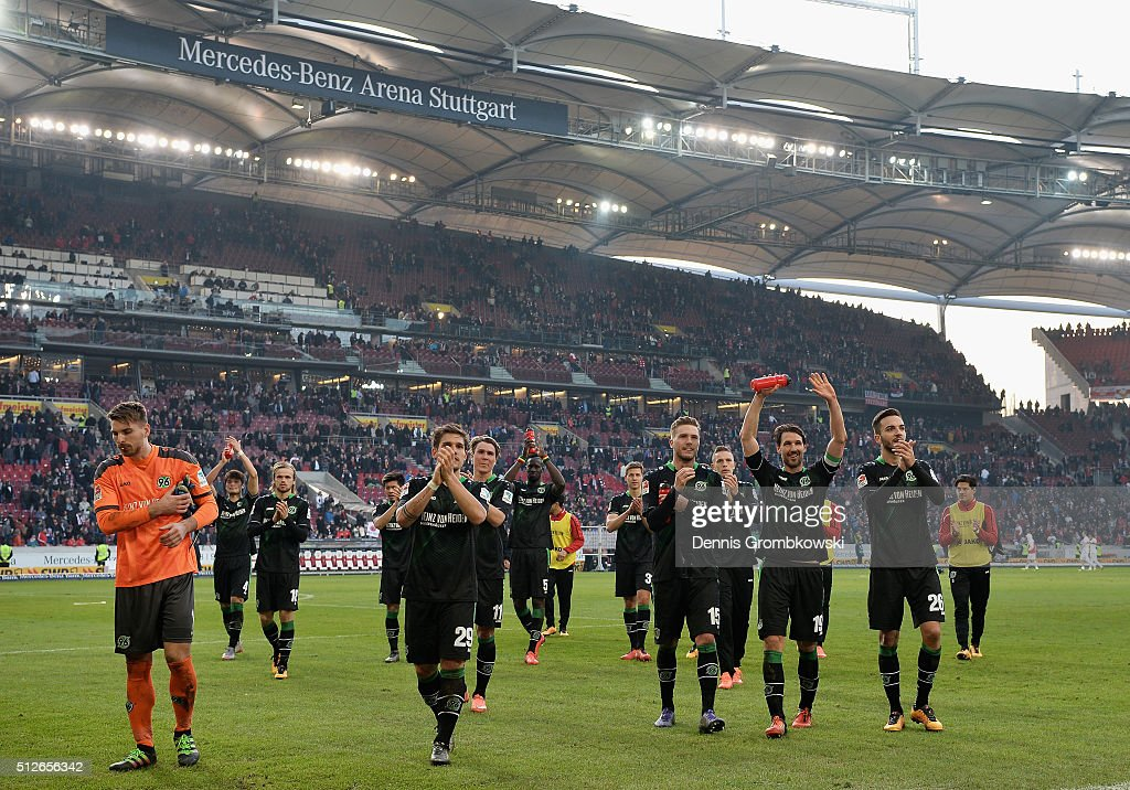 Hannover 96 players celebrate their victory in the Bundesliga match between VfB Stuttgart and Hannover 96 at Mercedes-Benz Arena on February 27, 2016 in Stuttgart, Germany.