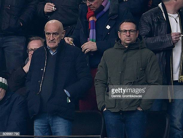 Hannover 96 president Martin Kind and Director of Sports Martin Bader look on during the Bundesliga match between Borussia Dortmund and Hannover 96...