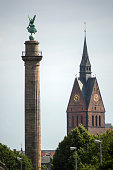 Marktkirche and Waterloo Victory Column in Hanover