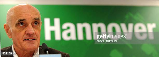 Hannover's president Martin Kind addresses a press conference on January 20 2010 in Hanover where Mirko Slomka was presented as the new coach of...