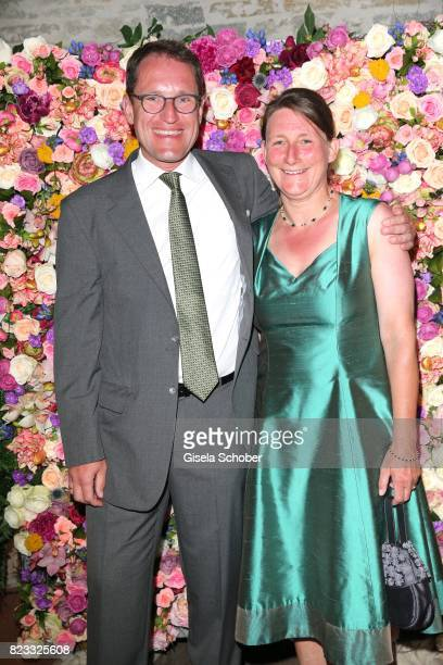 Hanns Beese Constantin Film and his wife Babette Beese during the wedding of Torsten Koch and Annika Hofmann at Hotel Wiesergut on July 22 2017 in...