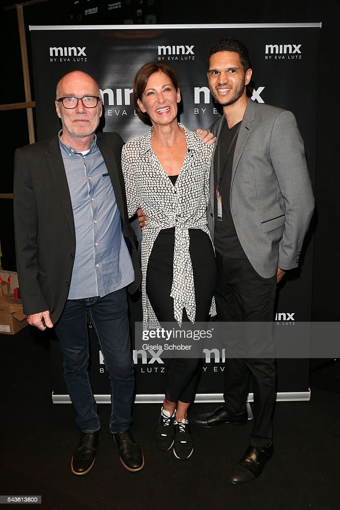 Hanns Lutz, Eva Lutz and Felix Arnold attend the Minx by Eva Lutz show during the Mercedes-Benz Fashion Week Berlin Spring/Summer 2017 at Erika Hess Eisstadion on June 29, 2016 in Berlin, Germany.