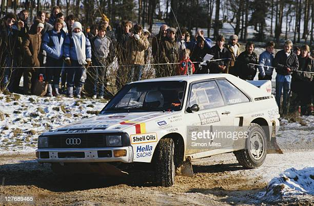 Hannu Mikkola and co driver navigator Arne Hertz drive the Shell Oils Audi Sport Quattro during the British Open Rally Championship National...