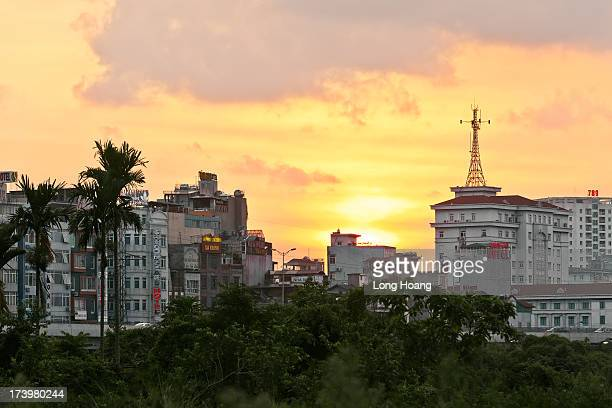 Hanoi city in the sunset
