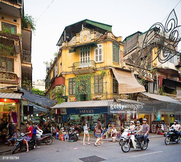 Hanoi Hang shopping district view late Spring afternoon