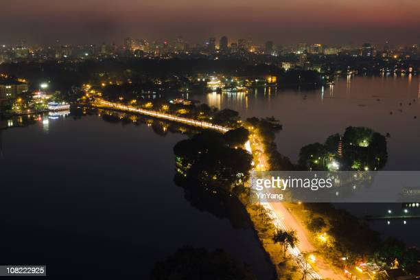 Hanoi Vietnam Cityscape, City Skyline and Street Scene at Night