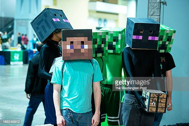 Hanover High School students pose as Minecraft game characters participating in The Fifth Annual FIRST Robotics Washington DC Regional at the Walter...