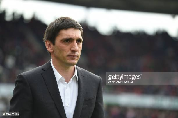 Hanover's head coach Tayfun Korkut arrives for the German first division Bundesliga football match Hanover 96 vs FC Bayern Munich in Hanover western...
