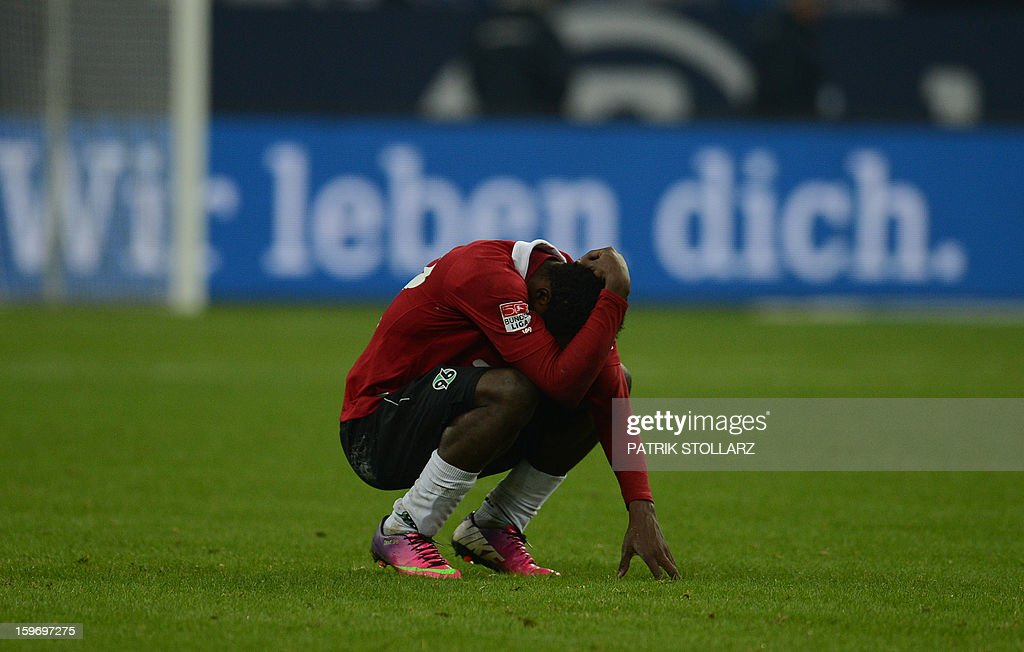 Hanover's striker Mame Diouf reacts after the German first division Bundesliga football match FC Schalke 04 vs Hanover 96 in the German city of Gelsenkirchen on January 18, 2013. AFP PHOTO / PATRIK STOLLARZ