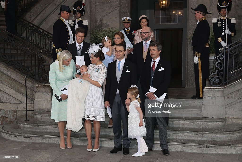 Hans Astrom, Princess Madeleine of Sweden; Princess Leonore of Sweden, Oscar Magnuson, (Front L-R) Crown Princess Mette-Marit of Norway, Crown Princess Victoria of Sweden, Prince Oscar of Sweden, Prince Daniel of Sweden, Princess Estelle of Sweden and Crown Prince Frederik of Denmark are seen after the christening of Prince Oscar of Sweden at Royal Palace of Stockholm on May 27, 2016 in Stockholm, Sweden.