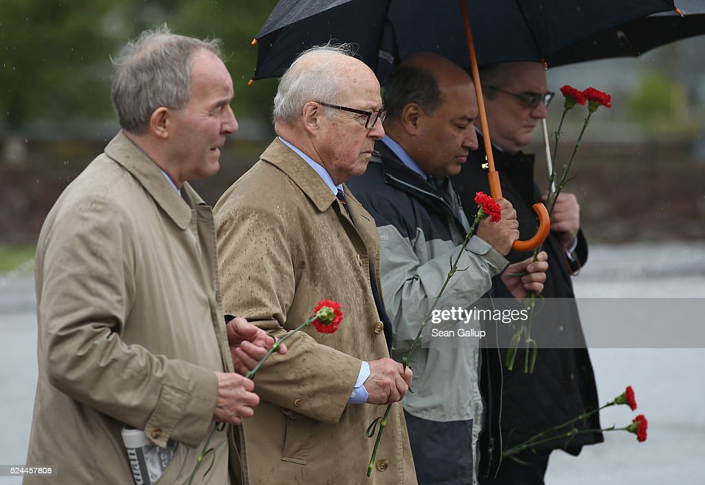 <a gi-track='captionPersonalityLinkClicked' href=/galleries/search?phrase=Hans+Blix&family=editorial&specificpeople=215493 ng-click='$event.stopPropagation()'>Hans Blix</a> (C- L), Chairman of the Chernobyl Shelter Fund (CSF) Assembly, and <a gi-track='captionPersonalityLinkClicked' href=/galleries/search?phrase=Suma+Chakrabarti&family=editorial&specificpeople=2488275 ng-click='$event.stopPropagation()'>Suma Chakrabarti</a> (C-R), President of the European Bank for Reconstruction and Development, arrive to place flowers at a memorial to plant workers who died as a result of the Chernobyl nuclear accident on the 30th anniversary of the Chernobyl disaster outside the current Chernobyl nuclear plant on April 26, 2016 near Chornobyl, Ukraine. On April 26, 1986 workers at the Chernobyl nuclear power plant inadvertantly caused a meltdown in reactor number four, causing it to explode and send a toxic cocktail of radioactive fallout into the atmosphere in the world's worst civilian nuclear incident. The fallout spread in plumes across the globe, covering much of Europe and reaching as far as Japan. Today large swathes in Ukraine and Belarus remain too contaminated for human habitation and strong evidence points to ongoing adverse health impacts for people in the larger region. Slavutych is a new city built after the accident for the workers of the plant and their families and replaced the town of Pripyat, where the workers had lived previously but which was contaminated with high levels of fallout and had to be abandoned.