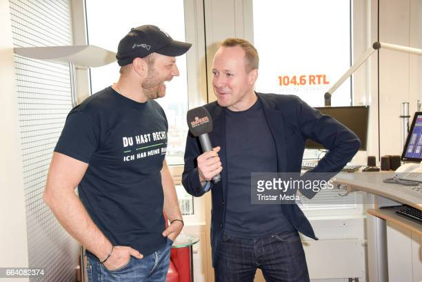 Hans Blomberg with Mario Barth during he hosted his first morning show at RTL radio Berlin on April 3 2017 in Berlin Germany