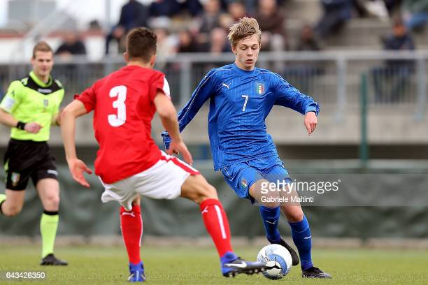 Hans Caviglia Nicolussi of Italy U17 in action during the International Friendly match between Italy U17 and Austria U17 at on February 21 2017 in...