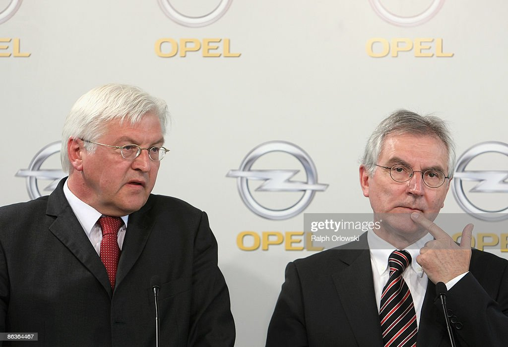Hans Demant (R), chief of German carmaker Adam Opel GmbH and Frank-Walter Steinmeier, German Foreign Minister and top candidate of the Social Democrates (SPD) for the general elections address the media during a news conference at a plant on May 4, 2009 in Eisenach, Germany. Representatives of the German government, officials of car manufacturer Opel and managers of Italian carmaker Fiat will meet today in Berlin to discuss a merger between Fiat, Opel and U.S. carmaker Chrysler.