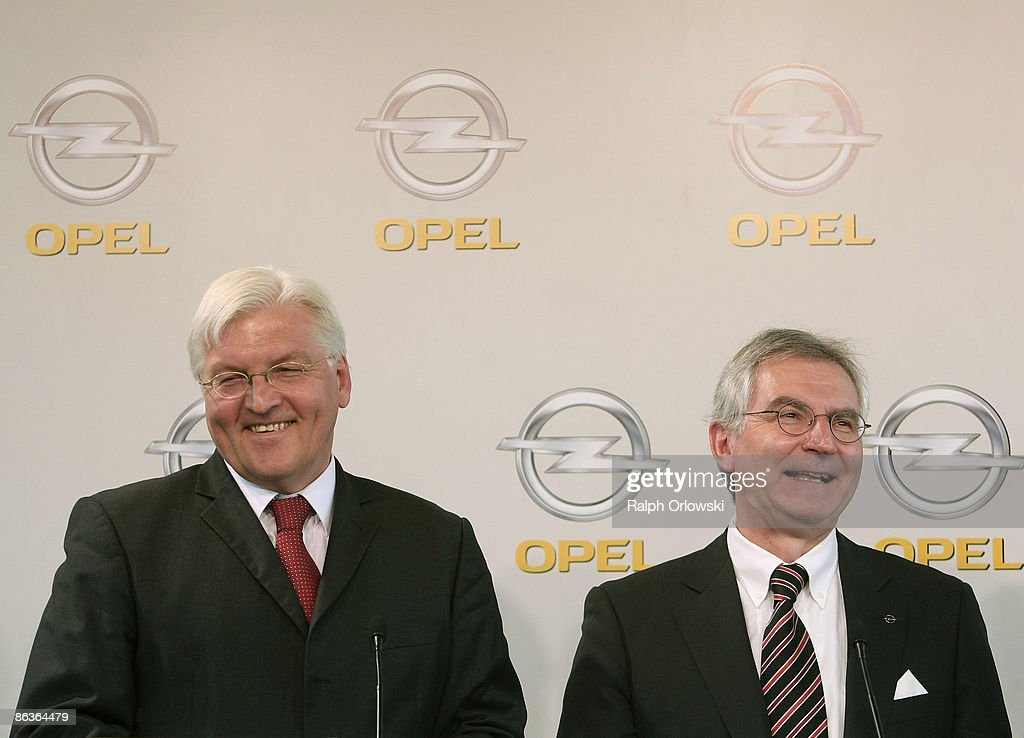 Hans Demant (R), chief of German carmaker Adam Opel GmbH and Frank-Walter Steinmeier, German Foreign Minister and top candidate of the Social Democrates (SPD) for the general elections smile during a news conference at a plant on May 4, 2009 in Eisenach, Germany. Representatives of the German government, officials of car manufacturer Opel and managers of Italian carmaker Fiat will meet today in Berlin to discuss a merger between Fiat, Opel and U.S. carmaker Chrysler.