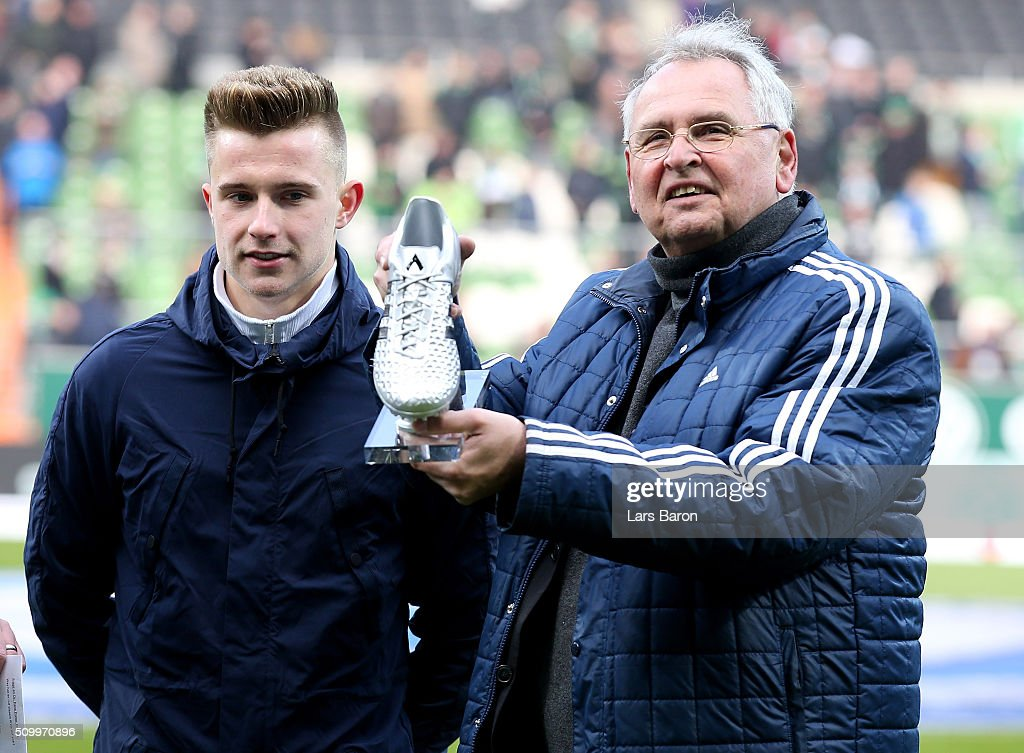 Hans Dieter Drewitz, Vice president of DFB, is seen with FIFA Under 17 World Cup silver boot winner Johannes Eggestein prior to the Bundesliga match between Werder Bremen and 1899 Hoffenheim at Weserstadion on February 13, 2016 in Bremen, Germany.